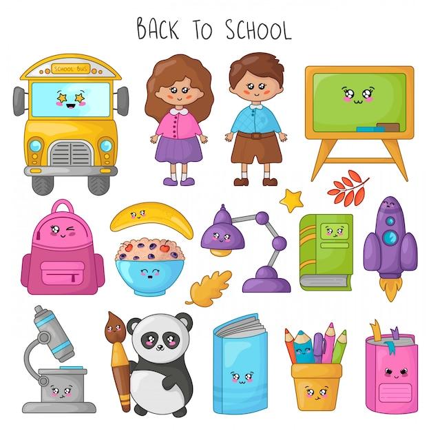 Set of kawaii cartoon school supplies, kids, students Premium Vector