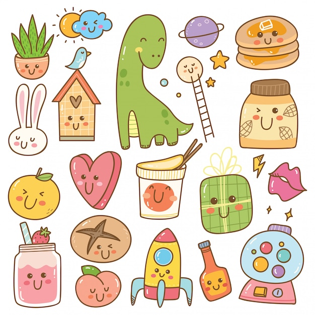 Set of kawaii doodles, cute stickers, fashion patches Premium Vector
