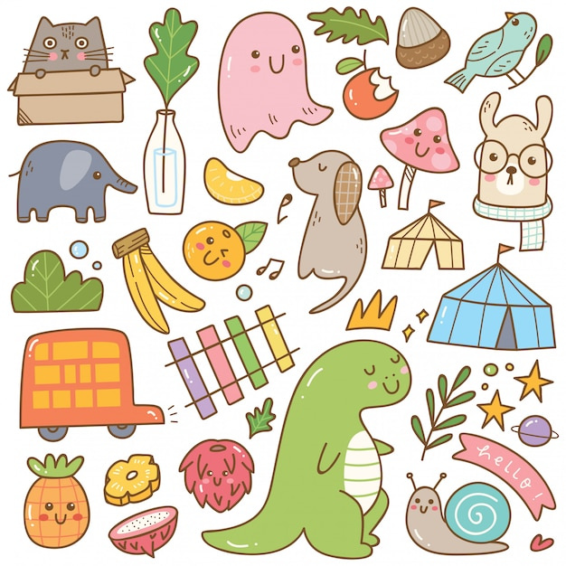 Set of kawaii doodles isolated on white Premium Vector