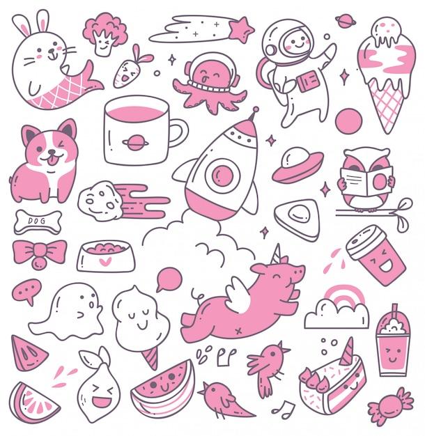 Set of kawaii doodles Premium Vector