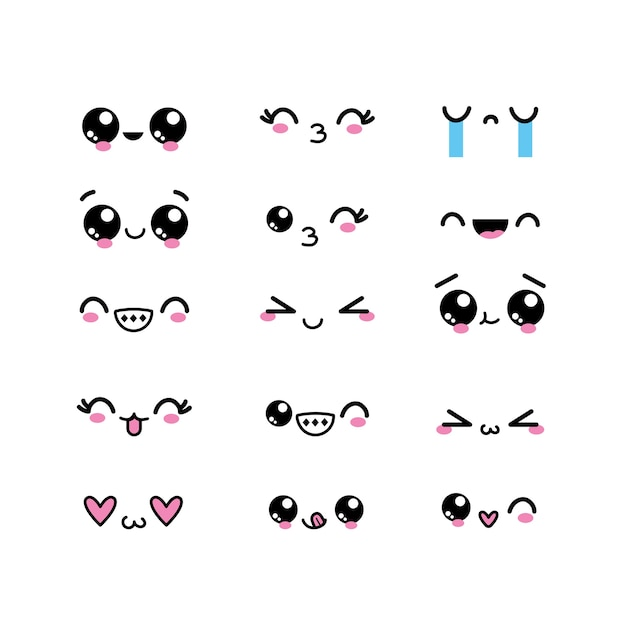 Set kawaii faces character with expression design Premium Vector