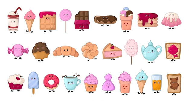 Set of kawaii food - sweets or desserts - donut, cake, candy Premium Vector