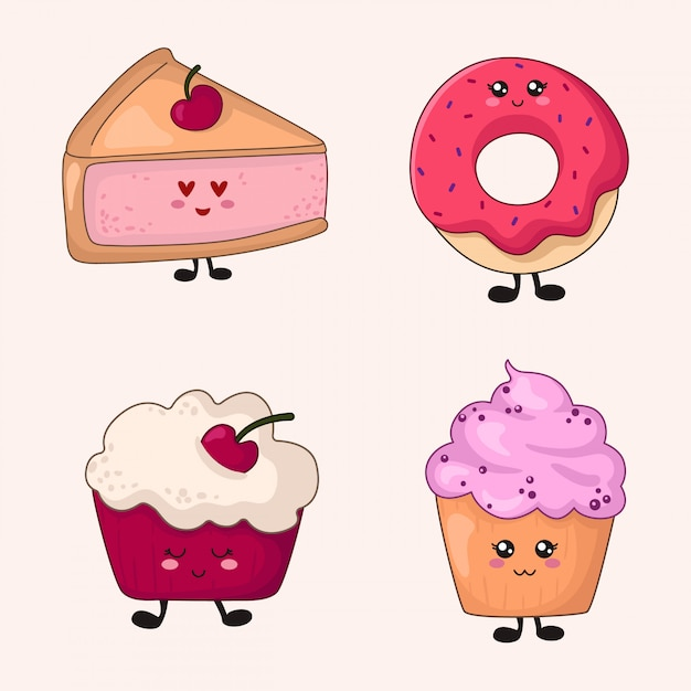 Set of kawaii food - sweets or desserts on white Premium Vector