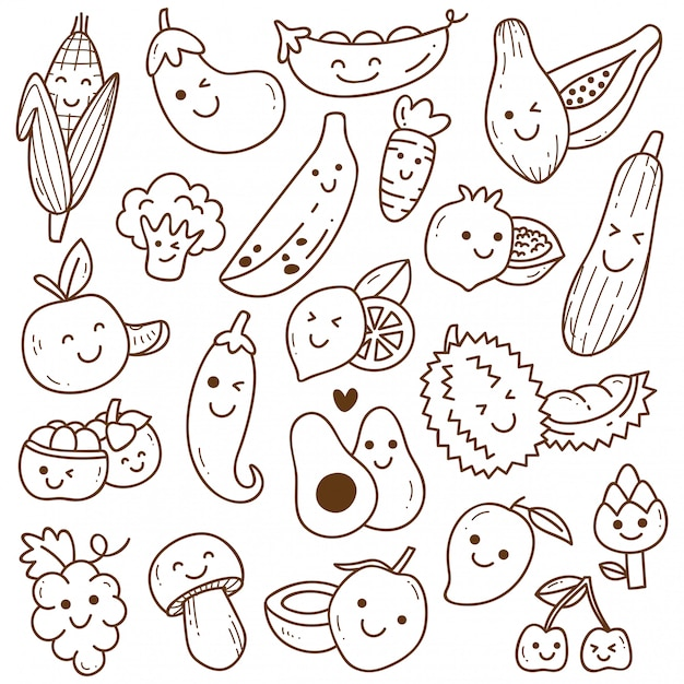 Set of kawaii fruit and vegetables doodle Premium Vector