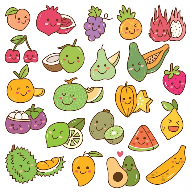 Set of kawaii fruits Premium Vector