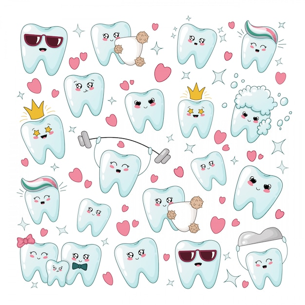 Set of kawaii healthy tooth with different emodji Premium Vector