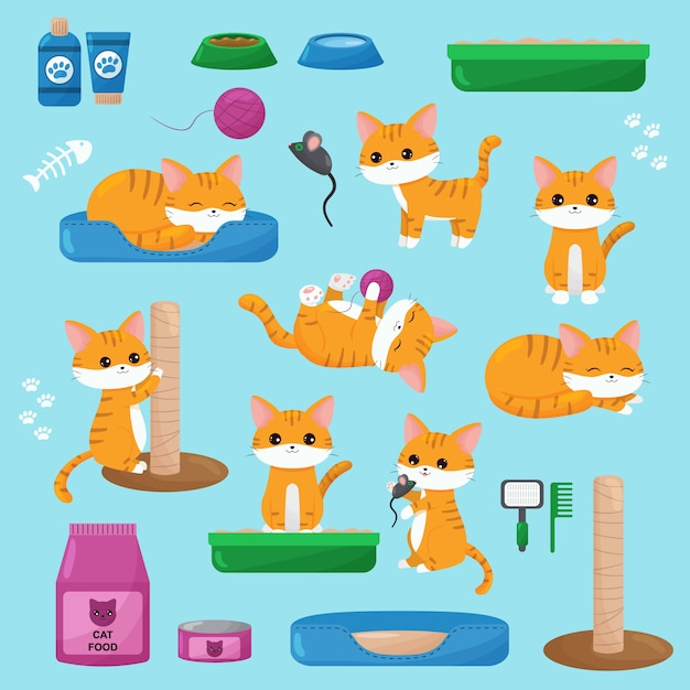 Set of kawaii red cats, toys, cat food and objects. cute cartoon kittens in different poses. Premium Vector