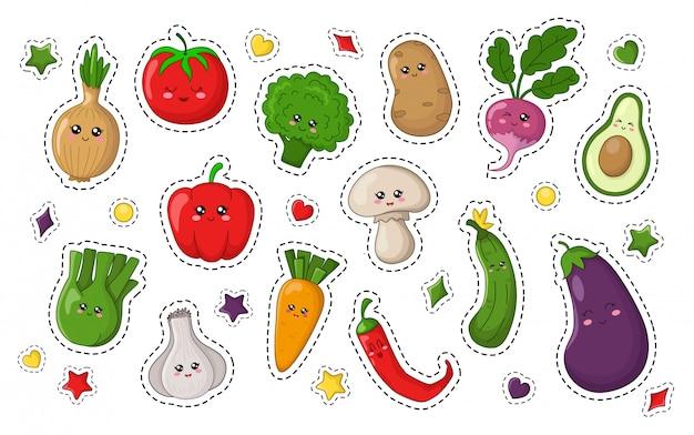 Set of kawaii sticker with food Premium Vector