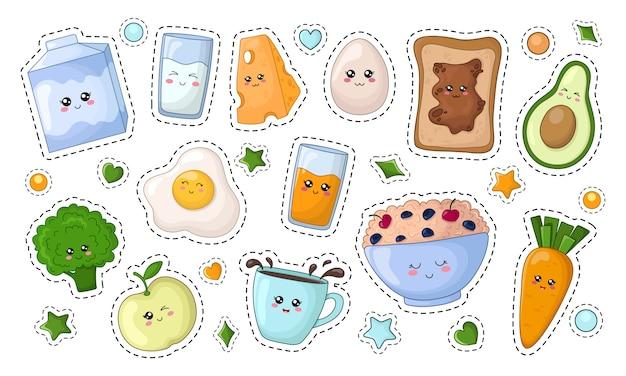 Set of kawaii stickers with diet food Premium Vector