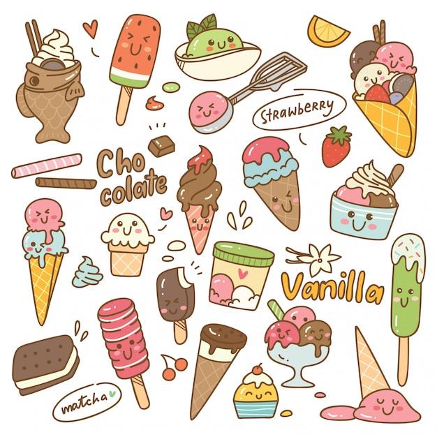 Set of kawaii style ice cream Premium Vector
