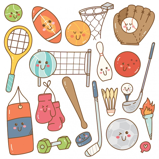 Set of kawaii style sport equipment Premium Vector