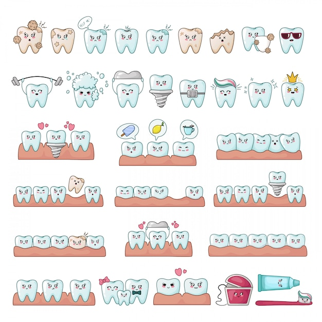 Set of kawaii teeth Premium Vector
