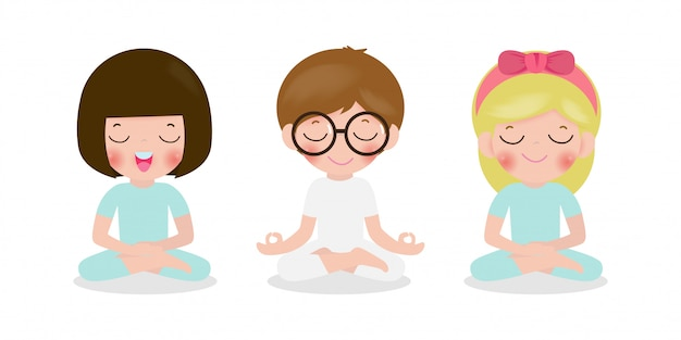 Set of kid meditating in lotus pose. cute cartoon children ...