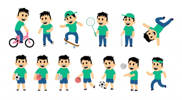 Set of kid street and sport activity. funny boy in different action poses. colorful   illustration.  on white background. Premium Vector
