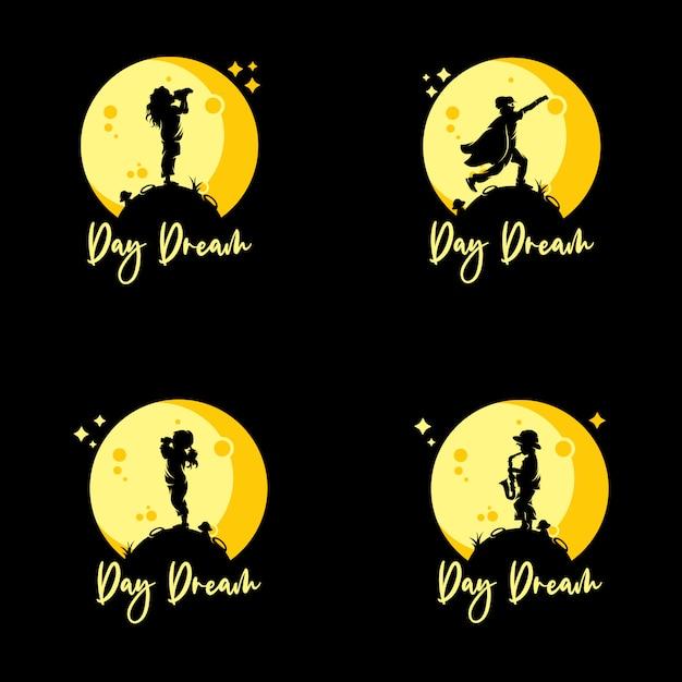 Set of kids reach dreams logo Premium Vector