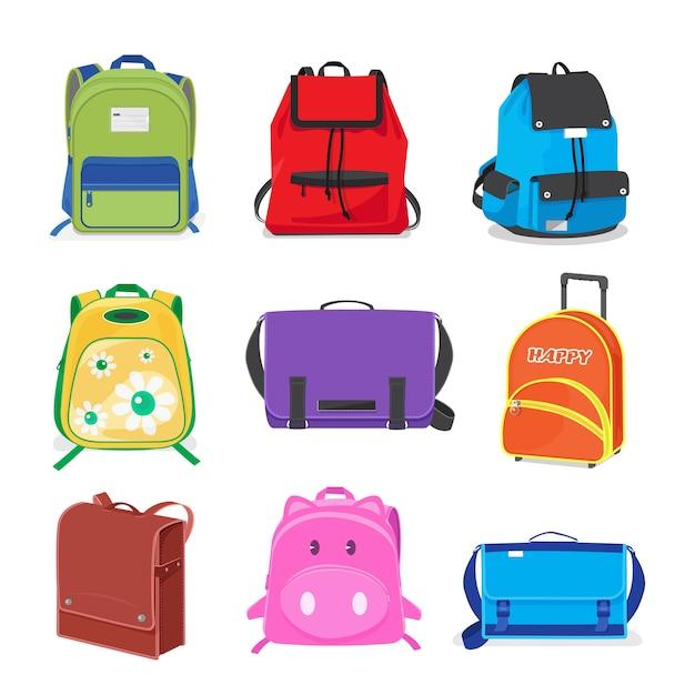 Set of kids school bags isolated Premium Vector