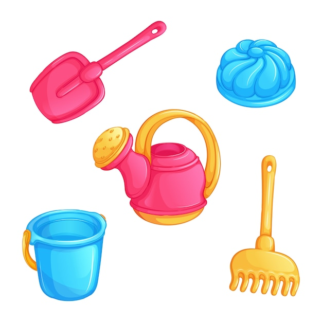 Set of  kids toys for playing with sand. Premium Vector