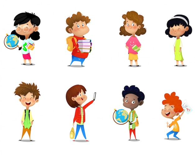 Set of kids with school supplies Premium Vector