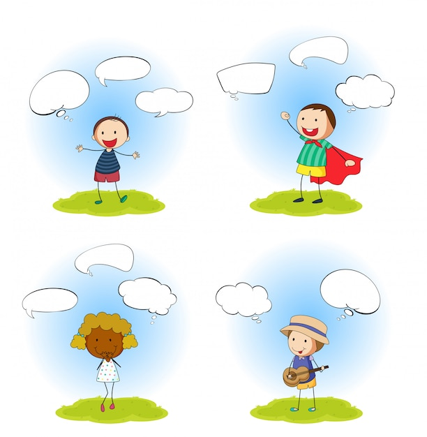 Set of kids with speech bubbles Free Vector