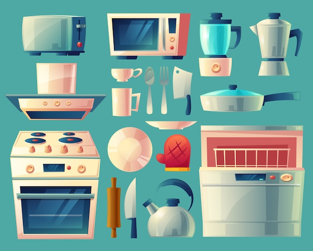 Set of kitchen appliances - washing machine, toaster, fridge, microwave, kettle Free Vector