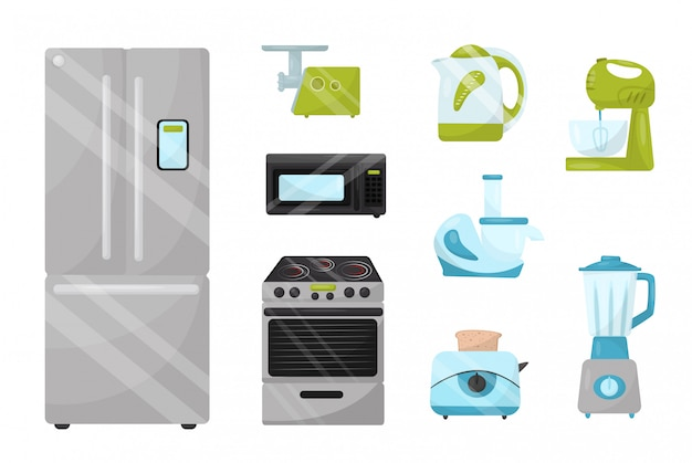 Set of kitchen electronic appliances. household items. elements for advertising poster of home goods store Premium Vector