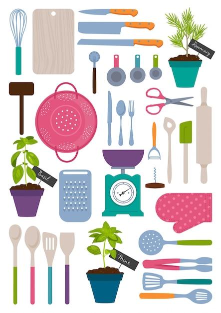 Set of kitchen tools Premium Vector
