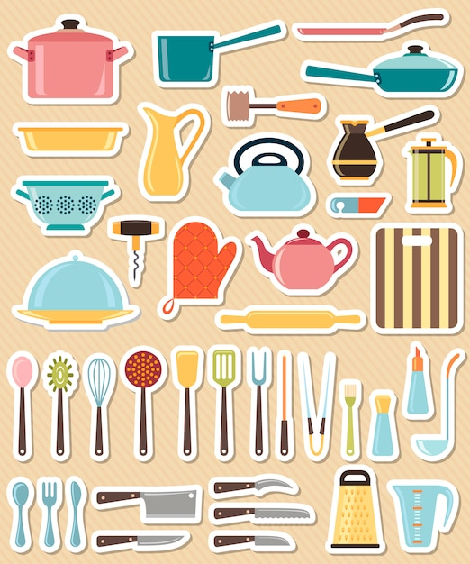 Set of kitchen utensil and collection of cookware icons Premium Vector