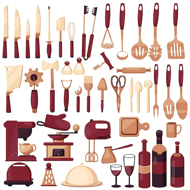 Set kitchen utensils for cooking. kitchen, cooking, kitchen technology, taste, delicious. coffee maker, mixer, knives, spoon, fork, scoops, scissors. Premium Vector