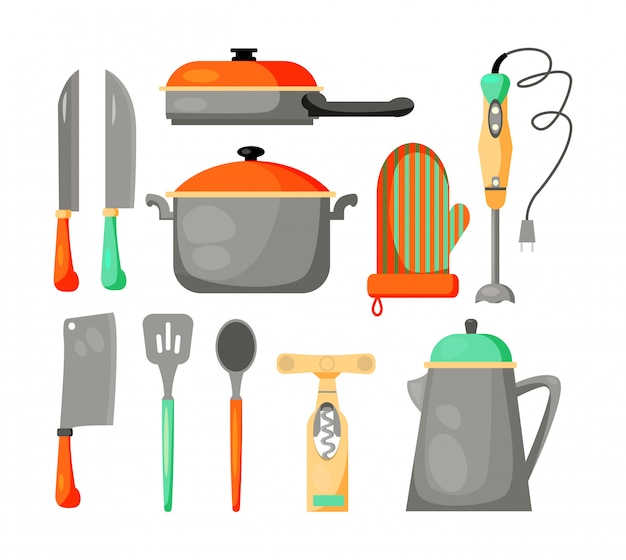 Set of kitchen utensils Free Vector
