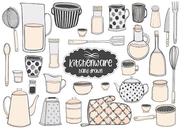 Set of kitchenware hand drawn vector illustrations drawing. Premium Vector