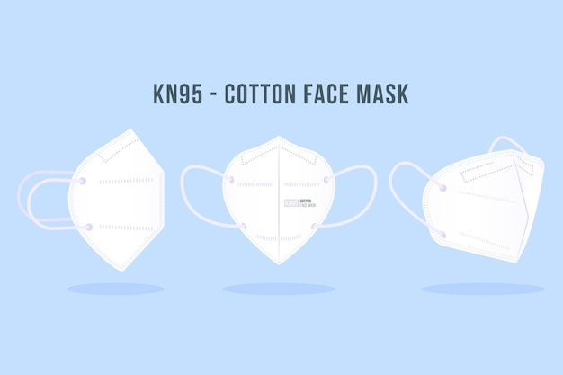 Set of kn95 face mask in different perspectives Free Vector