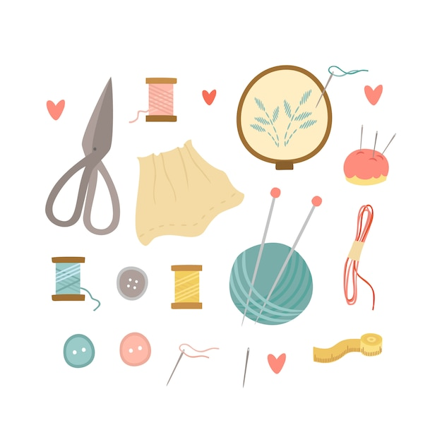 Set for knitting and embroidery Free Vector