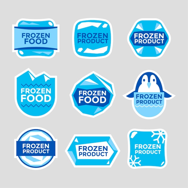 Set of label templates frozen food product hand drawn illustrations Premium Vector
