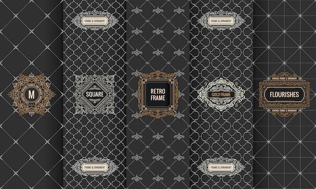 Set of  labels logo frame packaging Premium Vector