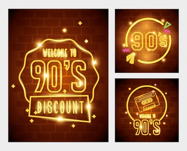 Set of labels retro style neon light Premium Vector
