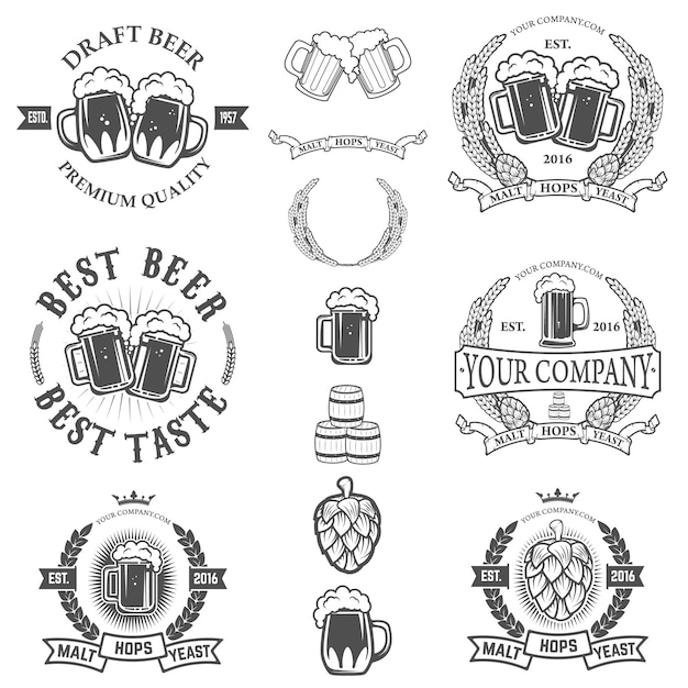 Set of labels templates with beer mug isolated on white background. Premium Vector