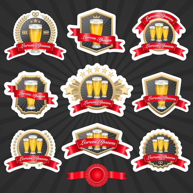 Set of labels with glasses full of beer and decorative ribbons vector illustation Free Vector