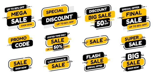 Set labels with inscription sale ad or promo. shopping concept. Premium Vector