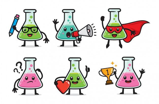 Set of laboratory bottle character Premium Vector