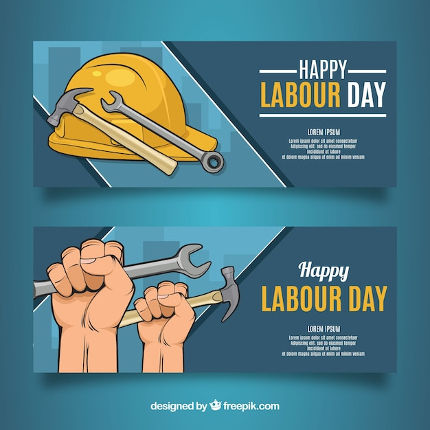 Set of labour day banners with tools Free Vector