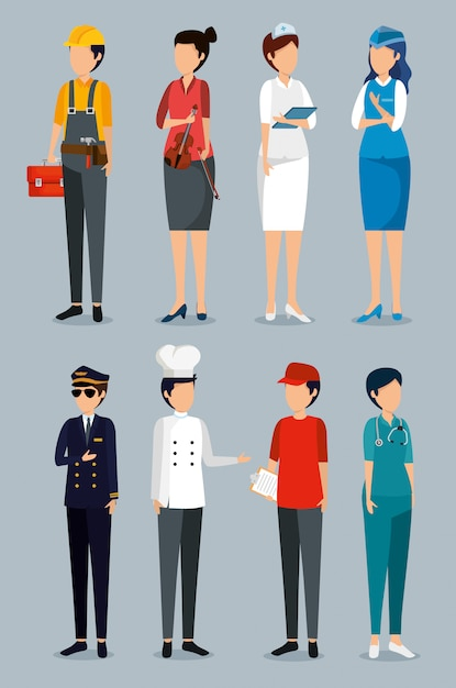 Set labour day with professional employers Free Vector