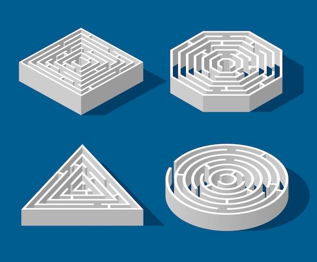 Установите изометрическую игру лабиринт и забавную головоломку лабиринт, изолированных на синем фоне. квадрат, треугольник, шестиугольник и круг. логическая игра-головоломка изометрическая концепция Premium векторы
