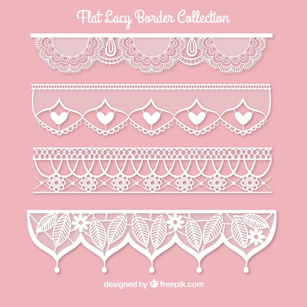 Set of lace borders in flat design Free Vector