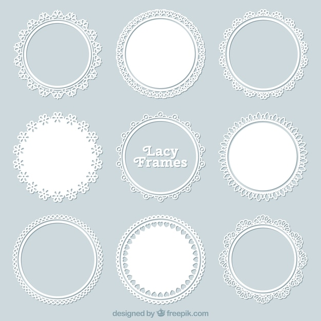 Set of lace decorative frame Premium Vector