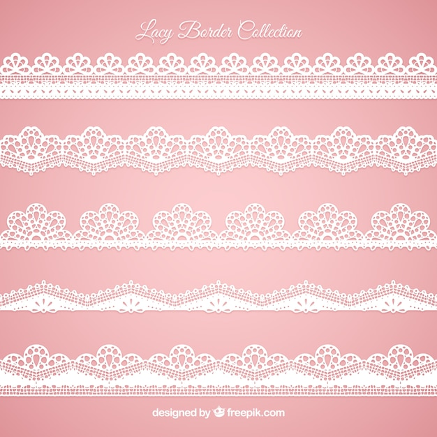 Set of lace edges in flat design Free Vector