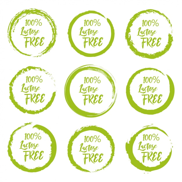 Set of lactose free grunge label sticker on a white background Premium Vector