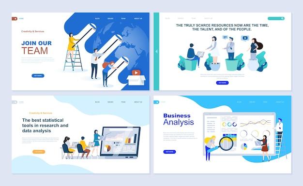 Set of landing page template for business app, data analysis, career, teamwork. Premium Vector