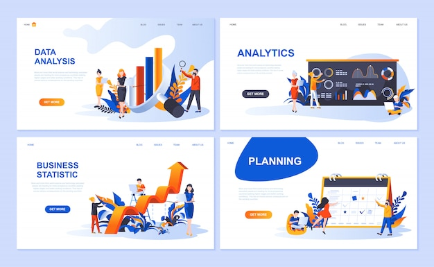 Set of landing page template for data analysis, analytics, business statistic, planning Premium Vector