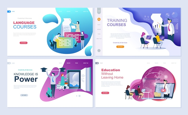 Set of landing page template for education, consulting, training, language courses. Premium Vector