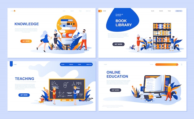 Set of landing page template for education, knowledge, book library, teaching Premium Vector